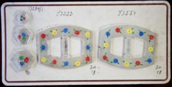 Czech glass buckle and button sample card